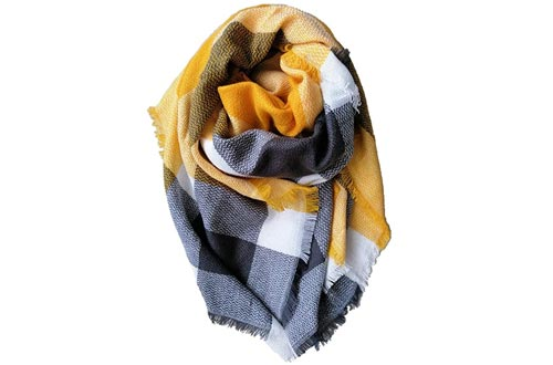 Women Oversized Tartan Scarfs Lady Blanket Shawl Big Grid Winter Warm Large Scarves Cozy Check Pashmina