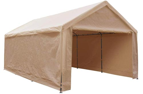 Abba Patio Extra Large Heavy Duty Carport with Removable Sidewalls Portable Garage Car Canopy Boat Shelters Tent for Party, Wedding, Garden Storage Shed 8 Legs, 12 x 20 Feet,Beige