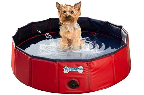 V-HANVER Foldable Dog Pools Hard Plastic Collapsible Pet Bath Tub for Puppy Small Dogs Cats and Kids