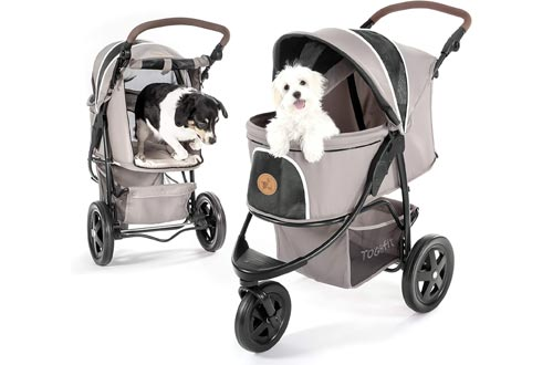 Hauck TOGfit Pet Roadster - Luxury Pet Strollers for Puppy, Senior Dog or Cat   Easy Foldable Three Wheels Travel Pet Jogger max. Loading 70 lb, Mattress Included - Gray