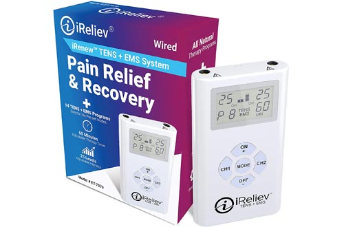 iReliev TENS + EMS Combination Unit Muscle Stimulators for Pain Relief & Arthritis & Muscle Strength - Treats Tired and Sore Muscles in Your Shoulders, Back, Ab's, Legs, Knee's and More