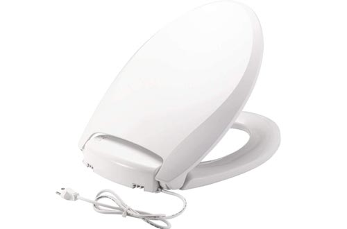 BEMIS Radiance Heated Night Light Toilet Seats will Slow Close and Never Loosen, ELONGATED, Long Lasting Plastic, White, H1900NL 000