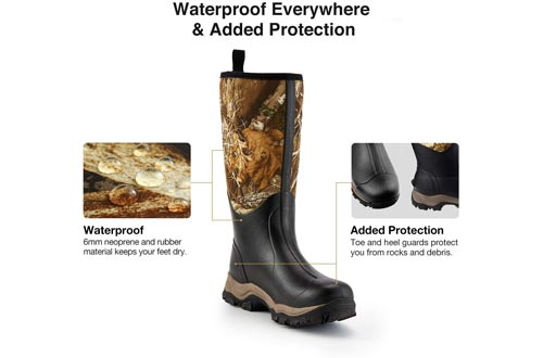 """TideWe Hunting Boots for Men, Insulated Waterproof Durable 16"""" Men's Hunting Boots, 6mm Neoprene and Rubber Outdoor Boots Realtree Edge Camo(400Gram & Standard)"""