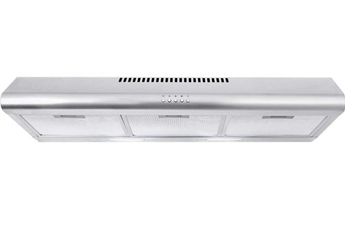 Cosmo COS-5MU36 36 in. Under Cabinet Range Hoods Ductless Convertible Duct, Slim Kitchen Stove Vent with 3 Speed Exhaust Fan, Reusable Filter and LED Lights in Stainless Steel, 36 inch
