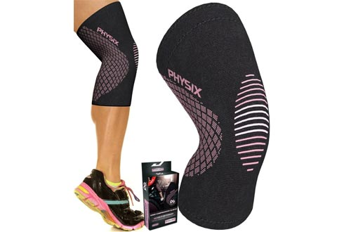 Physix Gear Knee Support Braces - Premium Recovery & Compression Sleeve For Meniscus Tear, ACL, MCL Running & Arthritis - Best Neoprene Stabilizer Wrap for Crossfit, Squats & Workouts - For Men & Women