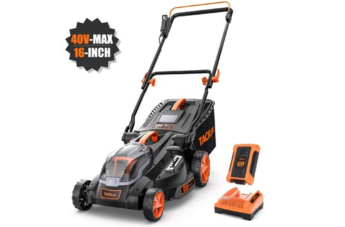TACKLIFE Cordless Lawn Mowers, 16-Inch 40V Brushless Lawn Mowers, 4.0AH Battery, 6 Mowing Heights, 3 Operation Heights, 98% Clean Cutting Rate, 10.5Gal Grass Box