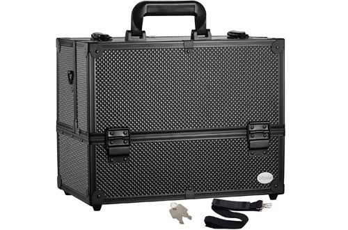 Makeup Train Cases Professional Adjustable - 6 Trays Cosmetic Cases Makeup Storage Organizer Box with Lock and Compartments 14 Inch Large Black