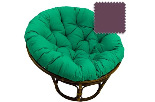DCG Stores 42-Inch Bali Rattan Papasan Chairs with Cushion - Solid Twill Fabric, Grape Exclusive
