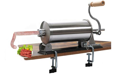 uyoyous 6LBS/3L Sausage Stuffers Maker Stainless Steel Horizontal Manual Meat Filler Kit for Home Resturant Commercial with 4 Sizes of Food-Grade Sausage Tubes