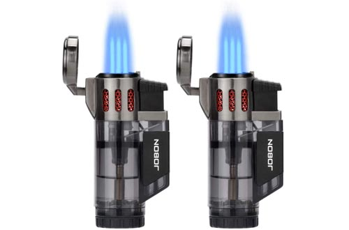 Torch Lighters, Cigar Lighters, Triple Jet Flame Torch Lighters, Windproof Butane Refillable Gas Torch Lighters with a Gift Box, 2 Pack (Without Gas)