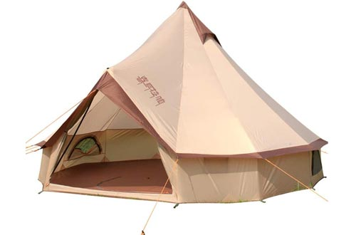 8 Person Tent Bell Tents Outdoor Glamping Tents Windproof, Rain-Proof, Professional Single Layered Camping Tents >3000 mm for Camping/Hiking/