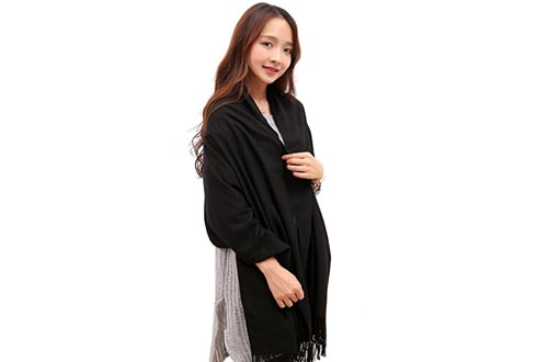 Anboor Cashmere Feel Blanket Scarfs Super Soft with Tassel Solid Color Warm Shawl for Women