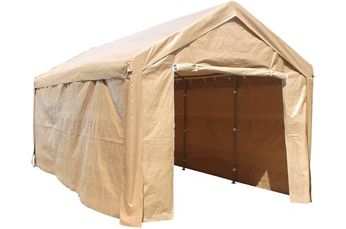 ALEKO CP1020BE Outdoor Event Carport Garage Canopy Tent Shelters Storage with Sidewalls 10 x 20 x 8.5 Feet Beige