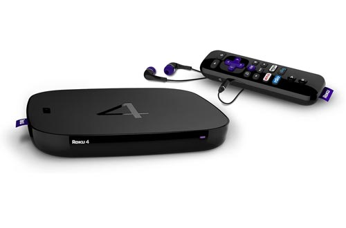 Roku 4   HD and 4K UHD Streaming Media Players with Enhanced Remote (Voice Search, Lost Remote Finder, and Headphone), Quad-Core Processor, Dual-Band Wi-Fi, Ethernet, and USB Port