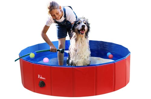 Fuloon PVC Pet Swimming Pools Portable Foldable Pools Dogs Cats Bathing Tub Bathtub Wash Tub Water Pond Pool Pet Pools & Kiddie Pools for Kids in The Garden,