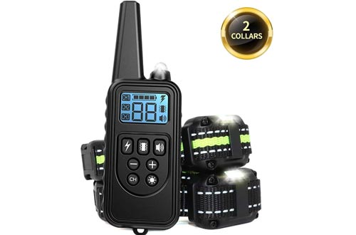 Adubor Dog Training Collars Rechargeable Dog Shock Collars, 4 Training Modes, Beep, Vibration, Shock and Light, IPX7 Waterproof,Up to 2600Ft Remote Range