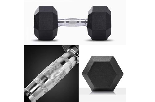Cool1980s Rubber Dumbbell in Pair - with Metal Handles Pair of 2 Heavy Dumbbell,5lbs, 10lbs, 20lbs, 30lbs, 50lbs - Dumbbell Barbell Weights Sets