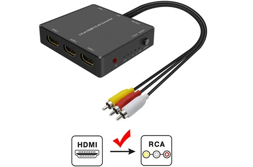 3 Port HDMI to AV Converters, HDMI Converters to RCA, HDMI Video Audio Adapter to AV Converters for PS3 blu ray Player Sky HD Box (3Port HDMI to RCA Converter)