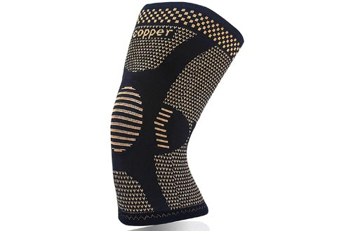 Copper Knee Braces for Arthritis Pain and Support-Copper Knee Sleeve Compression for Sports,Workout,Arthritis Relief-Single(M)
