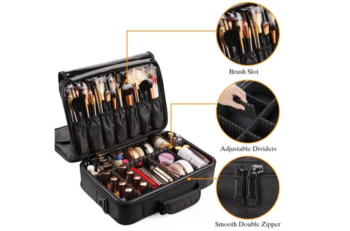 VASKER Large Makeup Cases 3 Layers Makeup Bag Organizer Professional Waterproof Travel Cosmetic Cases Box Portable Train Cases Black Brush Holder with Adjustable Divider Gift for Women