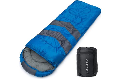 MalloMe Camping Sleeping Bags - 3 Season Warm & Cool Weather - Summer, Spring, Fall, Lightweight, Waterproof for Adults & Kids - Camping Gear Equipment, Traveling, and Outdoors