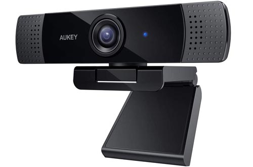 AUKEY FHD Webcams, 1080p Live Streaming Camera with Stereo Microphone, Desktop or Laptop USB Webcams for Widescreen Video Calling and Recording