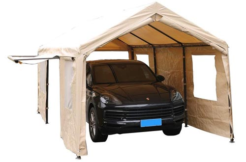 SORARA Carport 10 x 20 ft Heavy Duty Canopy Garage Car Shelters with Windows and Sidewalls, Beige