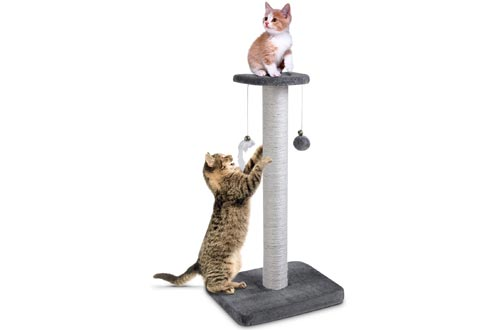 """pedy 30"""" Tall Cat Scratching Posts, Natural Sisal Cat Scratcher, Cat Scratch Tower with Two Interactive Bell Toys (Cat Scratching Post)"""