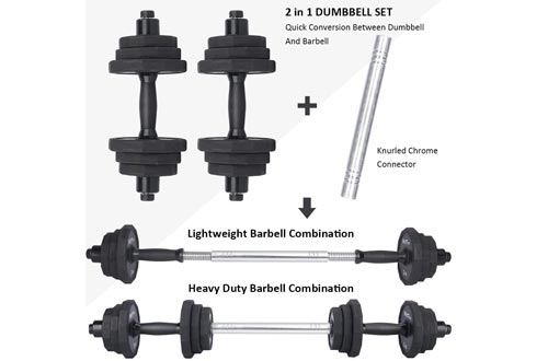 wolfyok 44Lbs Dumbbells Sets, Adjustable Weights Solid Steel Dumbbells Pair for Adults Home Fitness Equipment Gym Workout Strength Training with Connecting Rod Used as Barbell