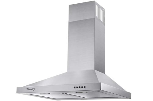 Wall Mount Range Hoods 30 inch Ducted Kitchen Exhaust Vent, Stainless Steel Chimney-Style Over Stove Vent Hoods with LED Light, 3 Speed Exhaust Fan, 450 CFM, Tieasy