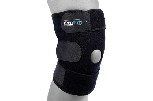EzyFit Knee Braces Support for Arthritis, ACL, LCL, MCL, Sports Exercise, Meniscus Tear Injury Recovery - Side Stabilizers Open Patella - Best Comfort Fit Adjustable Neoprene Wrap - 3 Sizes