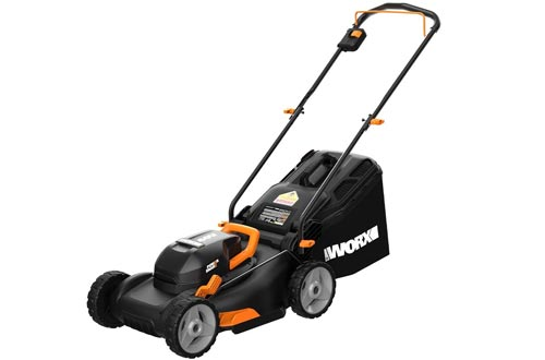"Worx WG743 40V PowerShare 4.0Ah 17"" Lawn Mowers w/ Mulching & Intellicut (2x20V Batteries),Black and Orange"