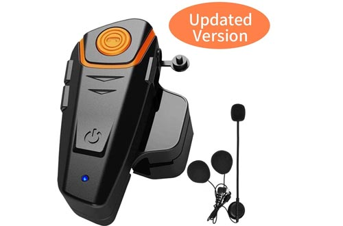 HuanGou Motorcycle Bluetooth Headsets, BT-S2 Motorbike Helmets Intercom up to 3 Riders 1000M Helmet Communication System Supports Handsfree/Stereo Music/FM/GPS/ MP3