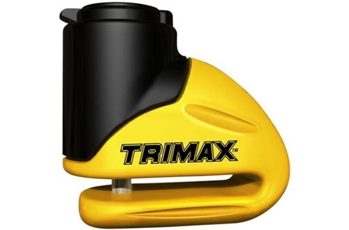 Trimax T645S Hardened Metal Disc Locks - Yellow 5.5mm Pin (Short Throat) with Pouch & Reminder Cable