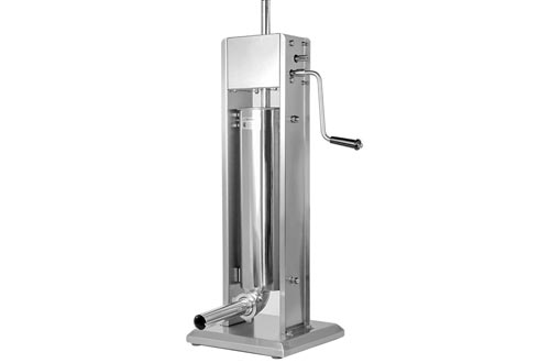 XtremepowerUS 7L Vertical Sausage Stuffers Hand Crank Sausage Grinder Maker Stainless Steel for Home & Commercial Use (20 LBS)