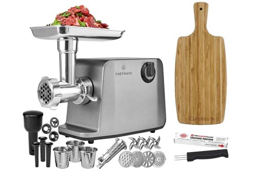 ChefWave Electric Meat Grinders - Stainless Steel Heavy Duty 1800W Max 3-Speed - 4 Grinding Plates, 3 Cutting Blades, Tomato Juicer, Sausage Stuffer Tubes + Cutting Board + Sausage Pricker