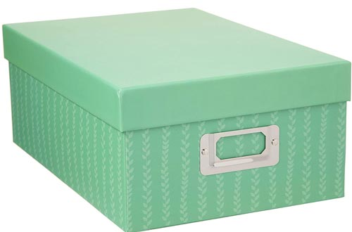 Darice Decorative Photo Storage Boxes: Green Stripes