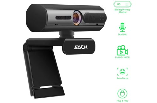 AutoFocus Full HD Webcams 1080P with Privacy Shutter - Pro Web Camera with Dual Digital Microphone - USB Computer Camera for PC Laptop Desktop Mac Video Calling, Conferencing Skype YouTube