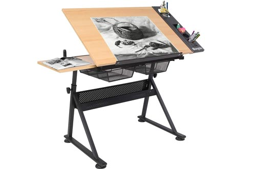 Bonnlo Professional Drafting Desk, Wooden Drawing Tables Height Adjustable Tiltable Tabletop w/Storage Drawer for Reading, Writing Art Craft Work Station