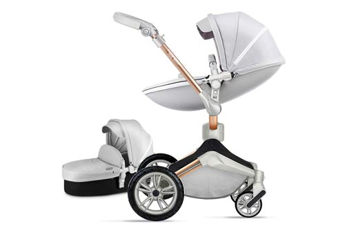 Baby Strollers 360 Degree Rotation Function,Hot Mom Baby Carriage Pu Leather Pushchair Pram 2020,Grey