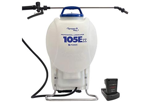105Ex Effortless Backpack Sprayers - 20V Lithium Long Battery Life with High Grade Seals & O-Ring, Brass Wand & Nozzle
