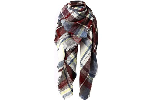 Zando Plaid Blanket Thick Winter Scarfs Tartan Chunky Wrap Oversized Shawl Cape
