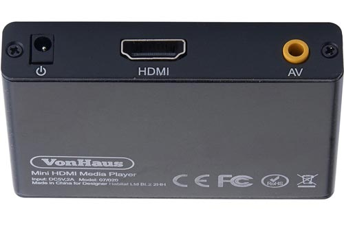 VonHaus 1080p HD TV Digital Mini Media Players - MKV - Play Any File from USB HDDs/Flashdrives/Memory Cards - HDMI and AV Cables Included