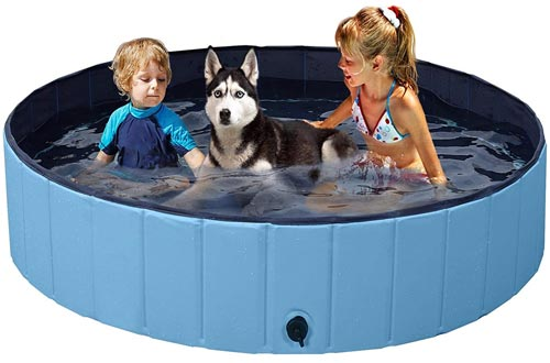 YAHEETECH Red Foldable Hard Plastic Kiddie Baby Large Dog Pet Bath Swimming Pools Collapsible Dog Pet Pools Bathing Tub Kiddie Pools for Kids Pets Dogs Cats