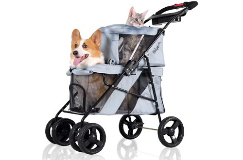 ibiyaya 4 Wheel Double Pet Strollers for Dogs and Cats, Great for Twin or Multiple pet Travel