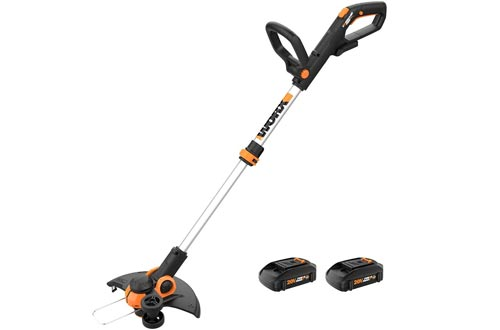 """Worx WG163.10 GT 3.0 20V PowerShare 12"""" Cordless String Trimmer & Edgers, 12in, 2 Batteries and Quick Charger Included,Black and Orange"""