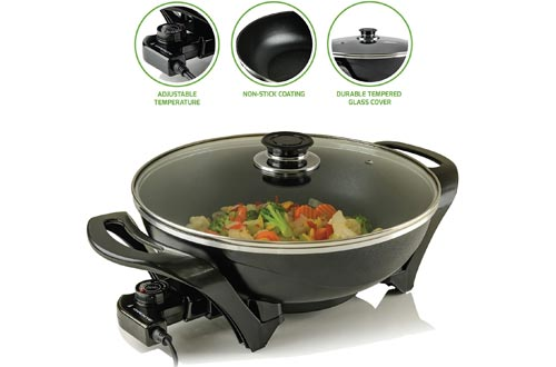 Ovente Electric Skillet with Nonstick Aluminum Coating Pan & Borosilicate Glass Cover 13 Inch, 1400 Watt Cooking Woks with Temperature Control Cool Touch Handle, for Breakfast & Dinner, Black SK3113B