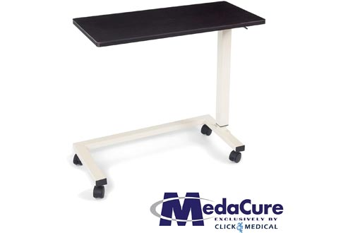 Medacure Bedside Tables with Wheels - Overbed Table Hospital Bed – Home, Food, Laptop, Reading - Adjustable Height, No Spill Rim, Heavy Duty Steel Frame, Locking Casters - 50lb Capacity - Mahogany