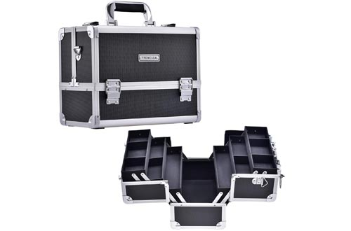 Frenessa Makeup Train Cases Large Cosmetic Box 6 Tier Trays with Compartments Professional Makeup Box Jewelry Storage Organizer Cases Adjustable Bottom with Shoulder Strap - Black