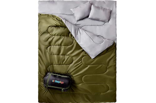 Sleepingo Double Sleeping Bags for Backpacking, Camping, Or Hiking, Queen Size XL! Cold Weather 2 Person Waterproof Sleeping Bags for Adults Or Teens. Truck, Tent, Or Sleeping Pad, Lightweight